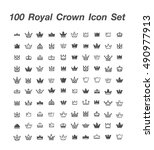 100 royal crown icon set | Shutterstock .eps vector #490977913