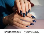 awesome nails and beautiful... | Shutterstock . vector #490980337