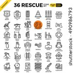 rescue emergency outline icons... | Shutterstock .eps vector #490986793