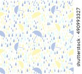 seamless weather rainy day with ... | Shutterstock .eps vector #490993327