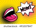 sexy open female mouth... | Shutterstock .eps vector #491037847