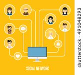 social network people and... | Shutterstock .eps vector #491048293