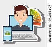 man computer smartphone chart... | Shutterstock .eps vector #491058607