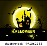 halloween night background with ... | Shutterstock .eps vector #491062153