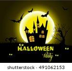 halloween night background with ... | Shutterstock .eps vector #491062153