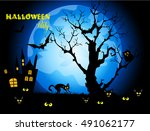 halloween night background with ... | Shutterstock .eps vector #491062177