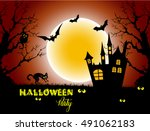 halloween night background with ... | Shutterstock .eps vector #491062183