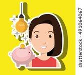 woman piggy coin idea | Shutterstock .eps vector #491064067