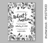 wedding invitation card with... | Shutterstock .eps vector #491073433