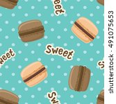 seamless pattern with macaroon... | Shutterstock .eps vector #491075653