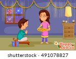 kids celebrating diwali and... | Shutterstock .eps vector #491078827