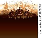 halloween grunge pumpkin... | Shutterstock .eps vector #491083537