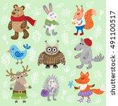 set of nine cute forest animals ... | Shutterstock .eps vector #491100517