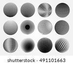 abstract halftone 3d sphere... | Shutterstock .eps vector #491101663