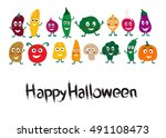 halloween monsters vegetables.... | Shutterstock .eps vector #491108473