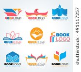 book logo   bird and sun and... | Shutterstock .eps vector #491117257