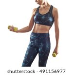 fitness woman with dumbbells on ... | Shutterstock . vector #491156977