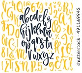 handdrawn calligraphic font....   Shutterstock .eps vector #491169943