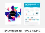 geometric background template... | Shutterstock .eps vector #491175343