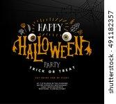 happy halloween lettering.... | Shutterstock .eps vector #491182357