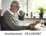 reading relaxation pension... | Shutterstock . vector #491185087