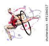 colored hand sketch gymnast.... | Shutterstock .eps vector #491186017