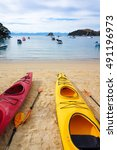 Small photo of Two kayak boats, close up. Kaiteriteri beach. Gateway to Abel Tasman National Park.