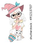 Stock vector cute girl 491213707