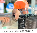 fiber optic technicians are...   Shutterstock . vector #491228413