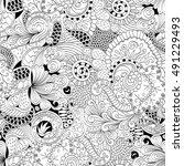 tracery seamless calming... | Shutterstock .eps vector #491229493