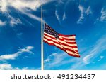 Usa Flag Flying At Half Staff