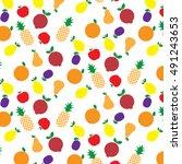 fruits seamless pattern. vector ... | Shutterstock .eps vector #491243653