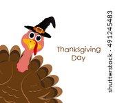 holiday turkey on thanksgiving... | Shutterstock . vector #491245483