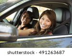 young friends driving. | Shutterstock . vector #491263687
