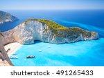 Navagio Bay And Ship Wreck...