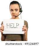 secretary woman in headset with ... | Shutterstock . vector #49126897