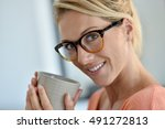portrait of middle aged woman...   Shutterstock . vector #491272813