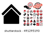 home icon with bonus pictograph ... | Shutterstock . vector #491295193