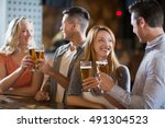 smiling friends toasting... | Shutterstock . vector #491304523