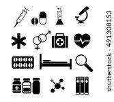 medicine icons set. silhouette... | Shutterstock .eps vector #491308153