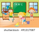 children help cleaning... | Shutterstock .eps vector #491317087