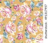 roses seamless pattern. | Shutterstock . vector #491317957