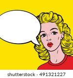 pop art cutie blonde woman with ...   Shutterstock .eps vector #491321227