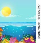 scene of ocean and underwater...   Shutterstock .eps vector #491322697