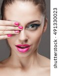 beauty portrait of a girl.... | Shutterstock . vector #491330023
