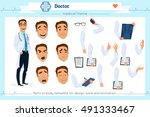 set of smart doctor presenting... | Shutterstock .eps vector #491333467