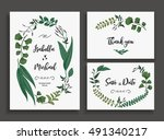 set of wedding cards with... | Shutterstock .eps vector #491340217