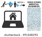 home on laptop screen icon with ... | Shutterstock . vector #491348293