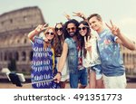 summer vacation  travel ... | Shutterstock . vector #491351773