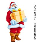 christmas santa claus man with... | Shutterstock .eps vector #491354647